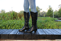 Handmade Black Leather Tall Boots With Heel, Women Boots, Women Heels, Women Winter Shoes, High Boots With Heel, Winter Wearing