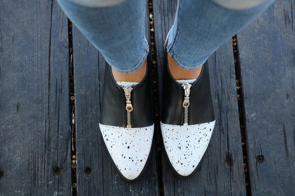 Black & White Zip Shoes, Pumps Women Shoes, Black Leather Shoes, Flat Shoes, Christmas Gift, HandMade Shoes, Winter Shoes, Free Shipping
