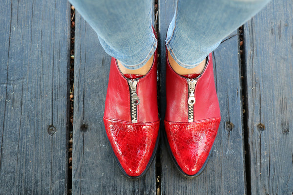 Red Zip Shoes, Pumps Women Shoes, Red Leather Shoes, Flat Shoes, Glossy Red Leather, HandMade Shoes, Winter Shoes, Free Shipping