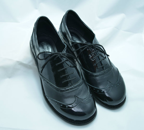 Shanti's Gloss Black Derby, Women Shoes, Leather Shoes, Also Large Size, HandMade