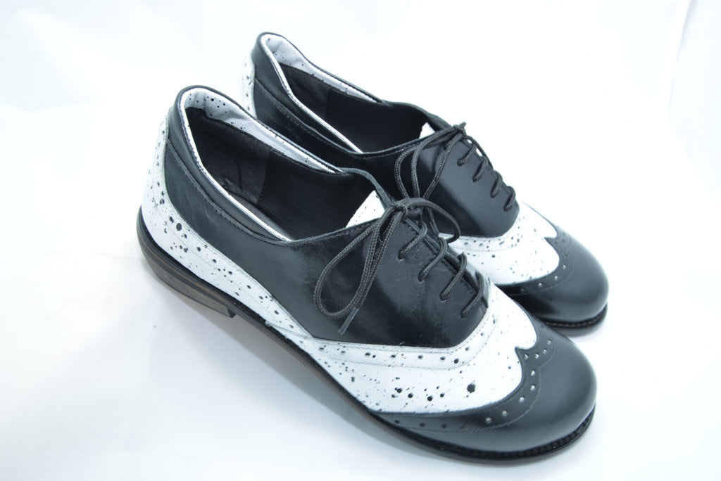 Shanti's Black & White Derby, Women Shoes, Leather Shoes, Also Large Size, HandMade