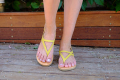 Yellow Leather Sandals, Flat Sandals, Also Large Size