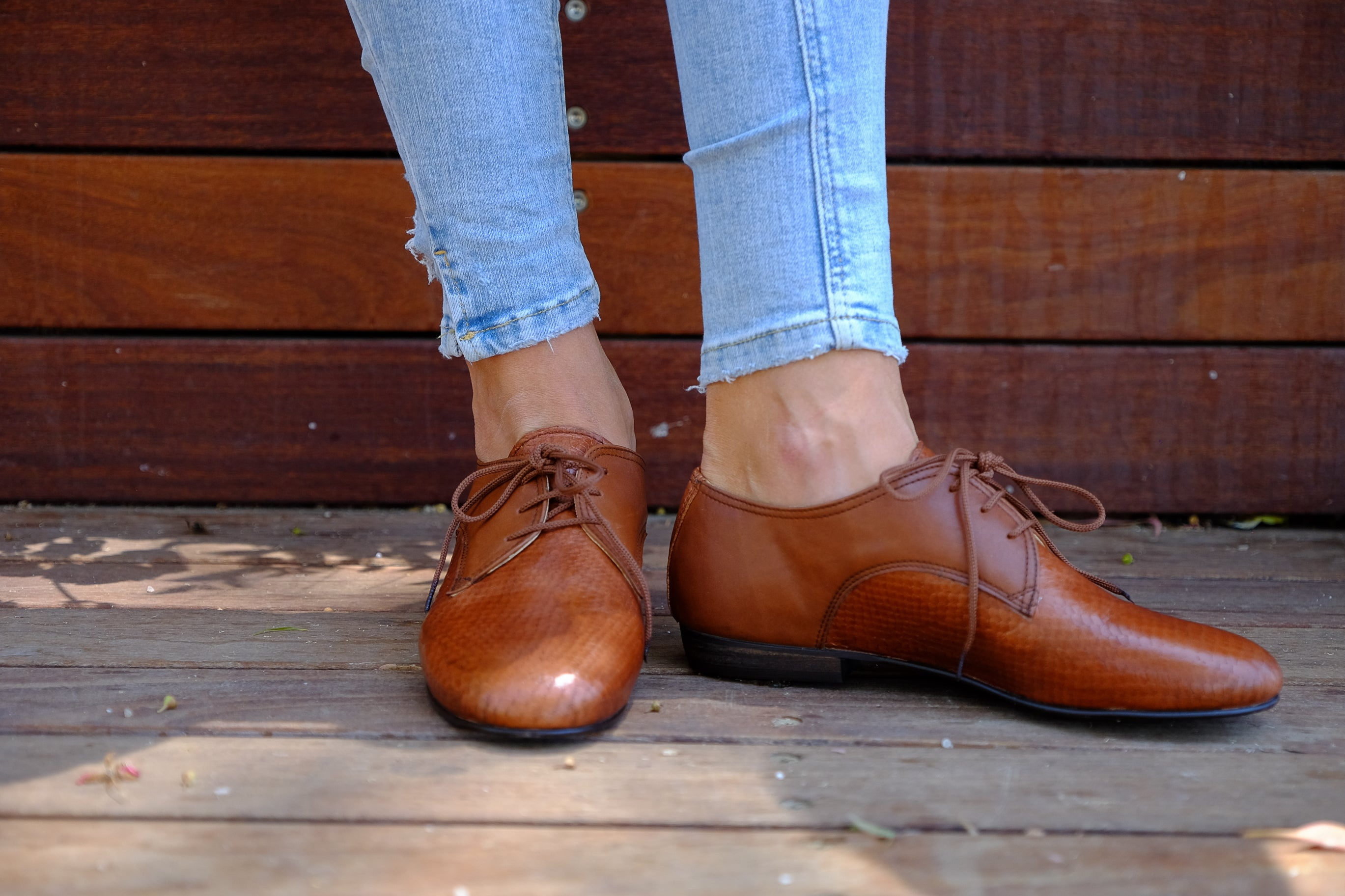Shantis Brown Oxford Women Shoes Leather Shoes Also Large Size