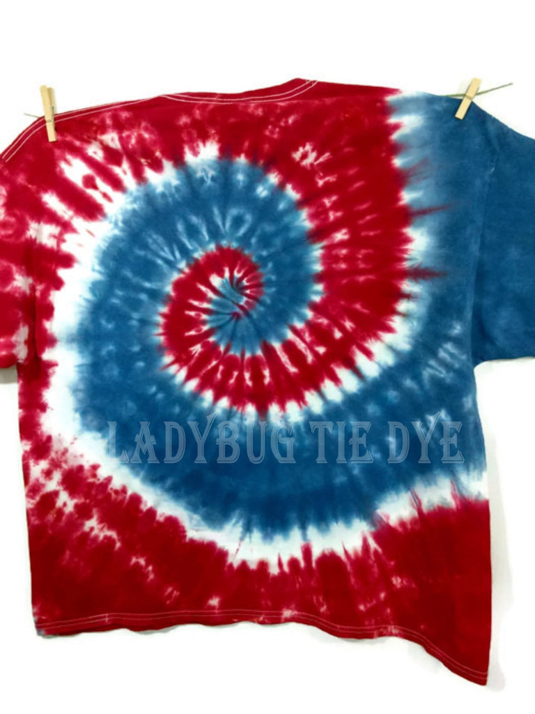 Adult Tie Dye T Shirt Red White And Blue Spiral Plus
