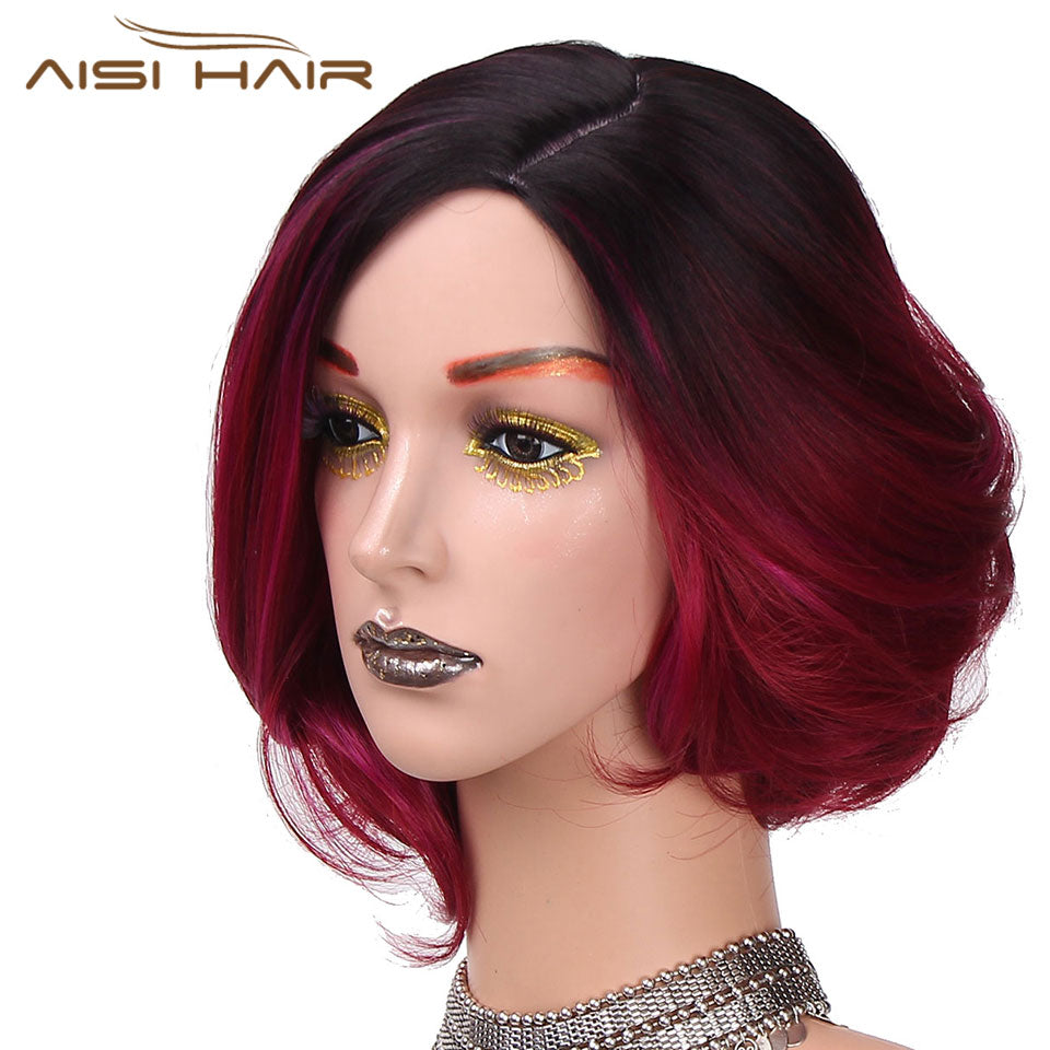 Is A Wig 12long Synthetic Ombre Red Short Hair Wigs For Women