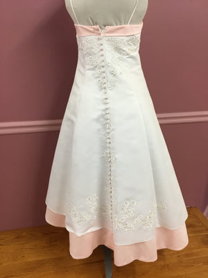 Tea Length Pink and White Gown