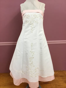 Tea Length Pink and White Flower Girls Gown