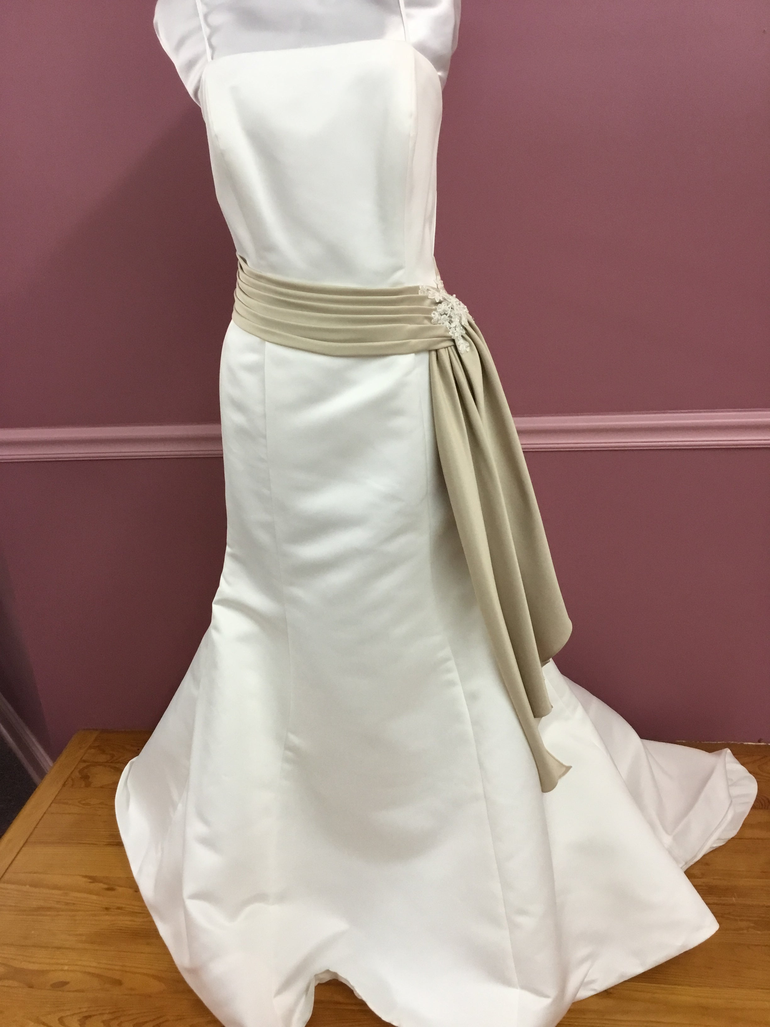 Satin Gown with Ivory Belt