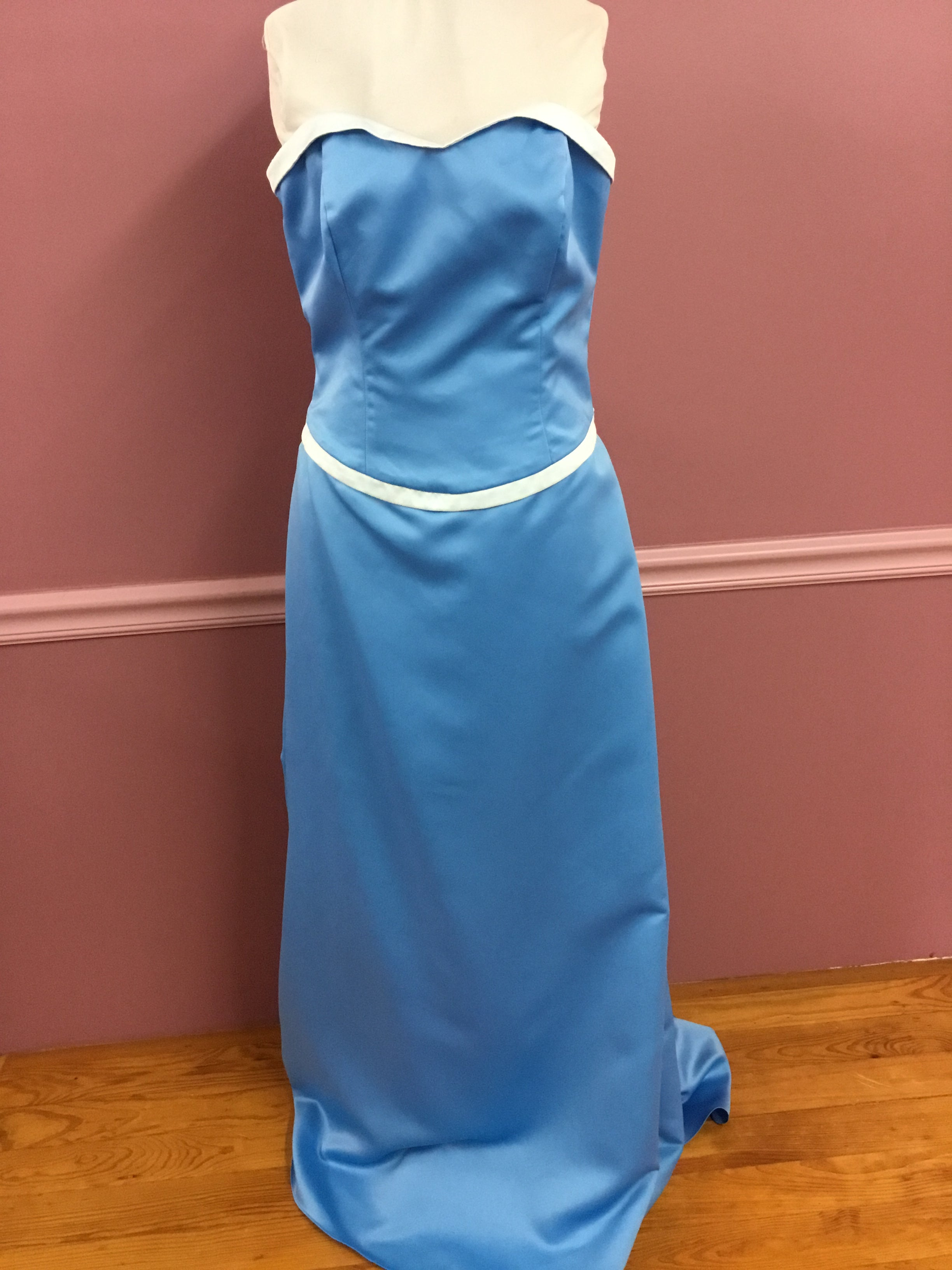 Blue Strapless Gown with Bow