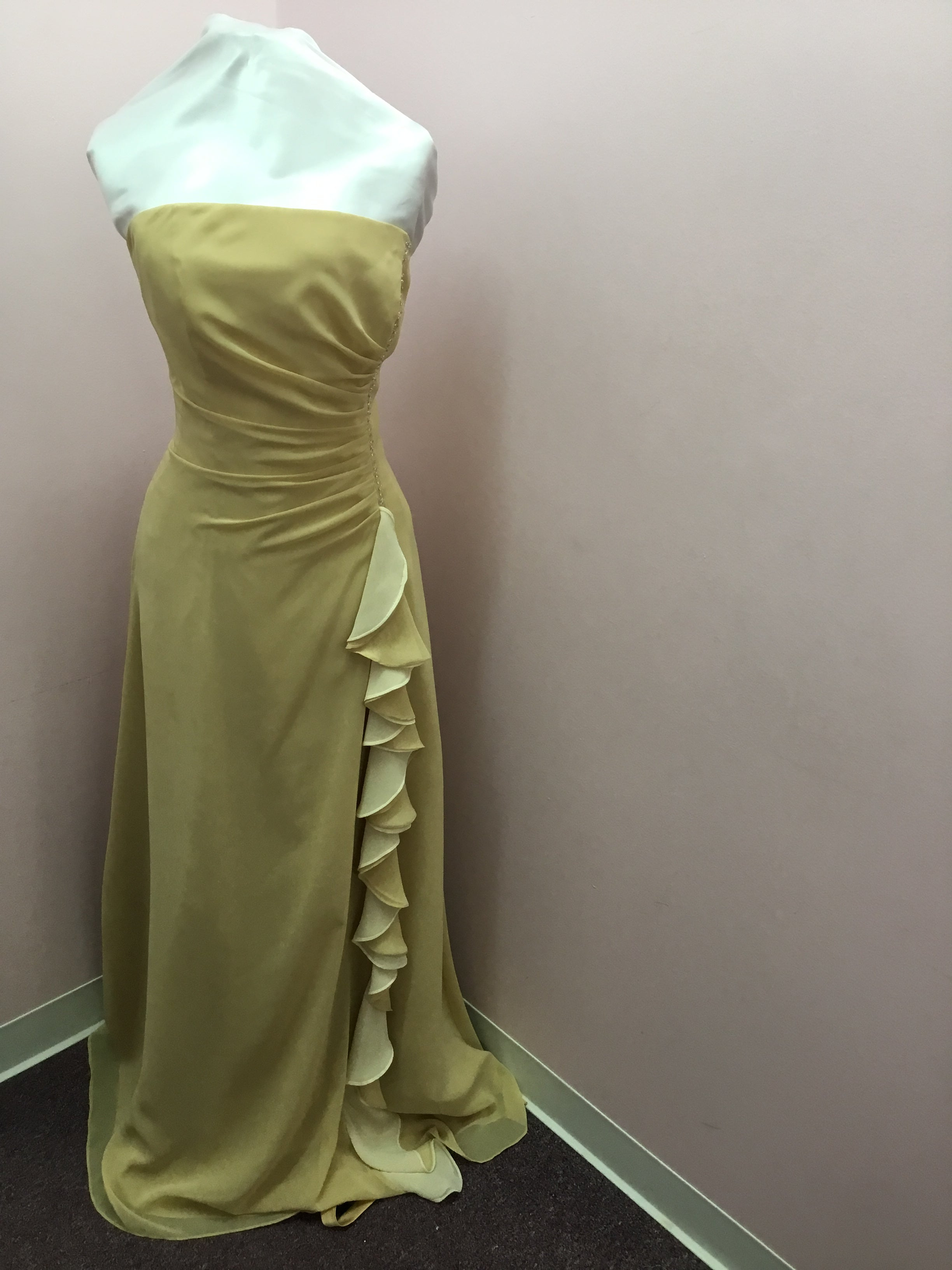 Strapless Gold Ruffle Gown