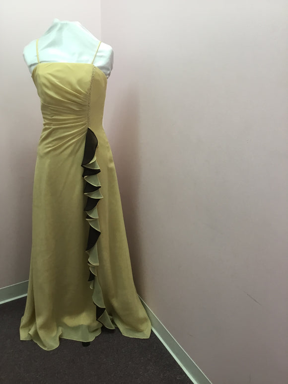 Strapless Gold/Chocolate Ruffle Gown
