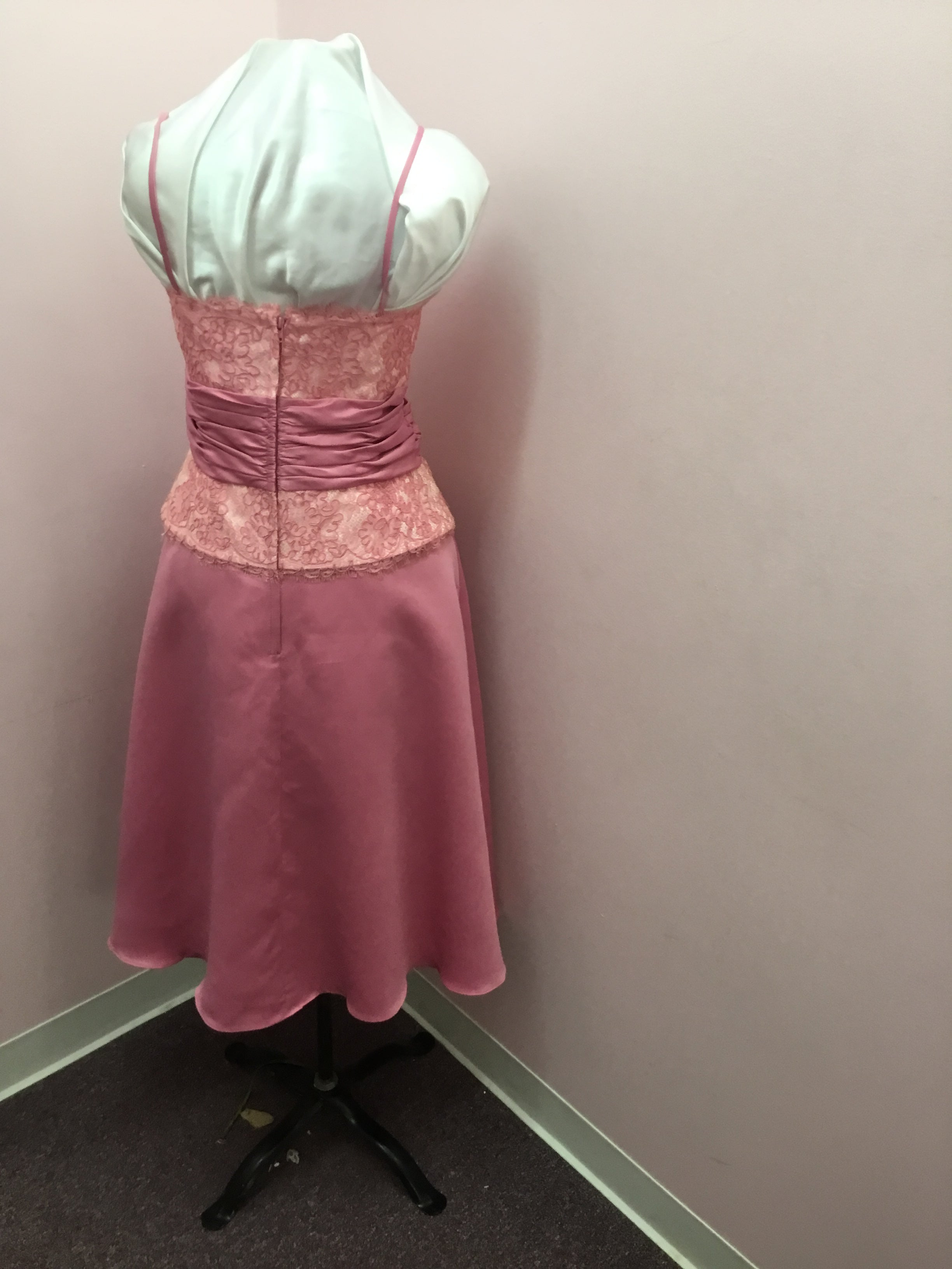 Tea Length Pink Lace Gown
