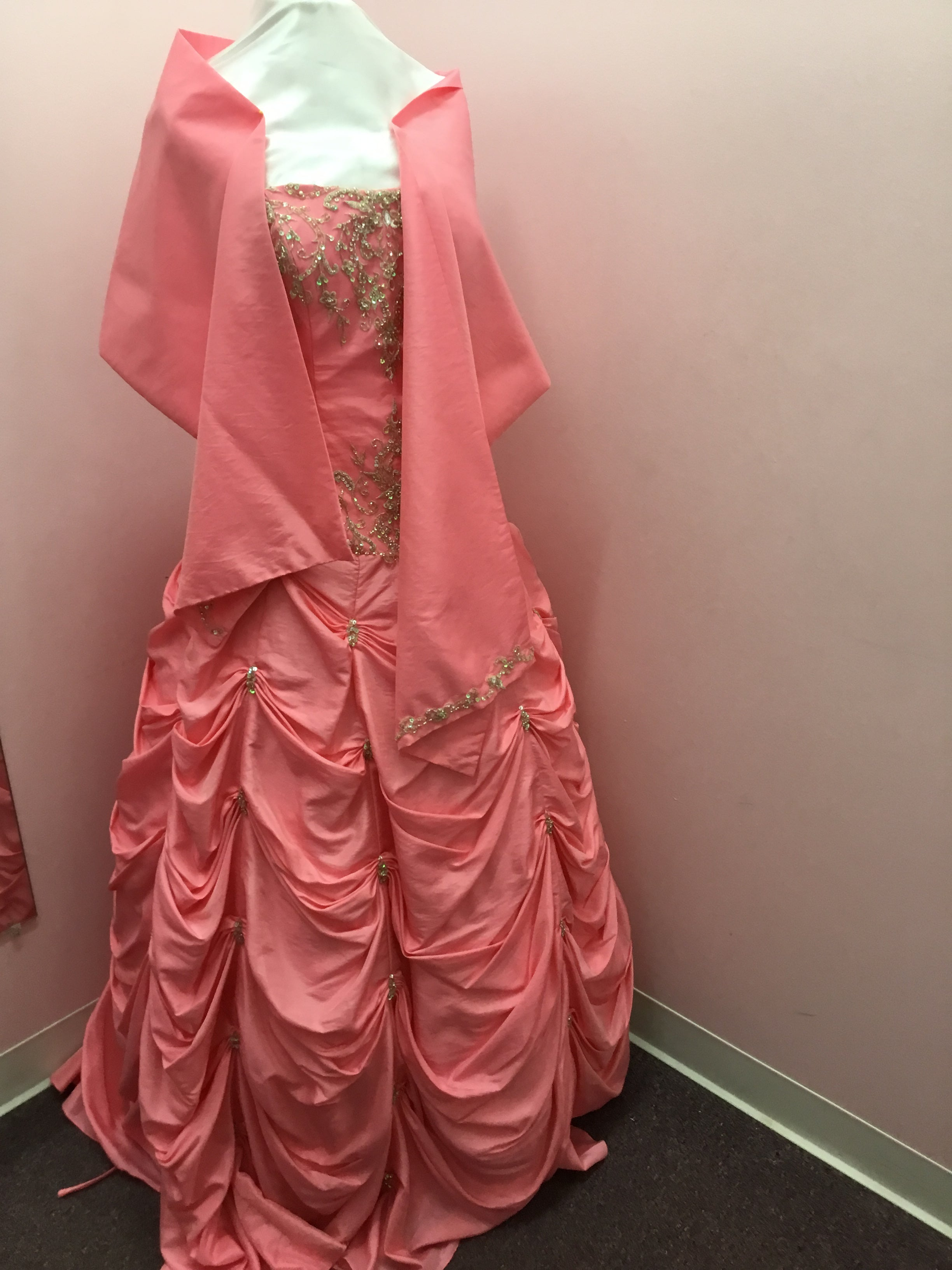 Strapless Pink Prom Dress