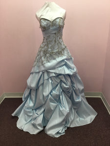 Strapless Light Blue Prom Dress