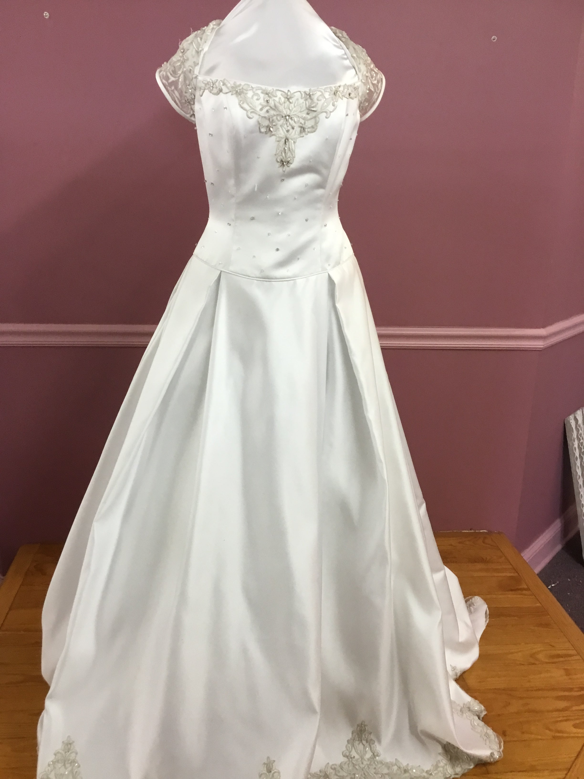 Illusion Short Sleeve Wedding Gown