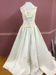 Light Gold Floral Wedding Gown