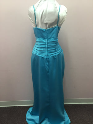 Turquoise Spaghetti Strap Formal Dress