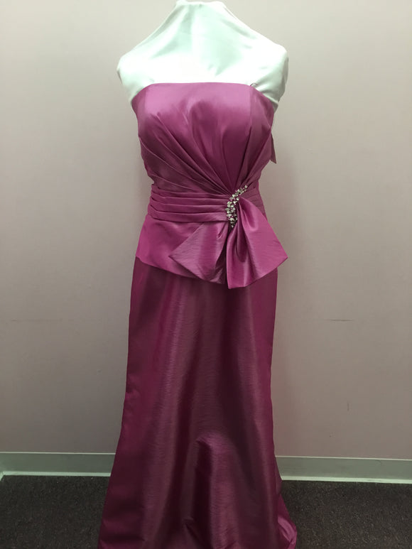 Magenta Strapless Formal Gown
