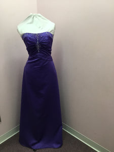 Strapless Purple Prom Gown