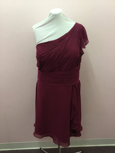 One Shoulder Burgundy Dress