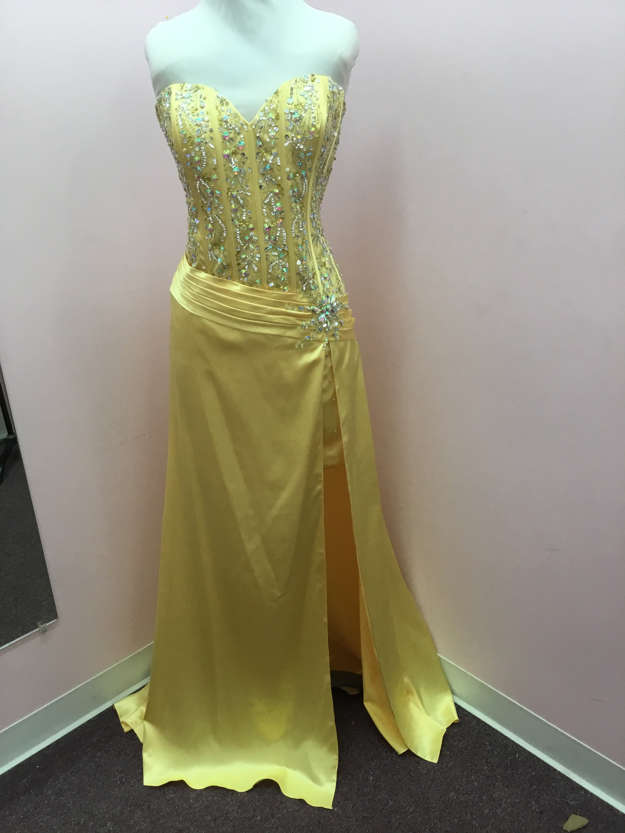 Strapless Yellow Prom Dress