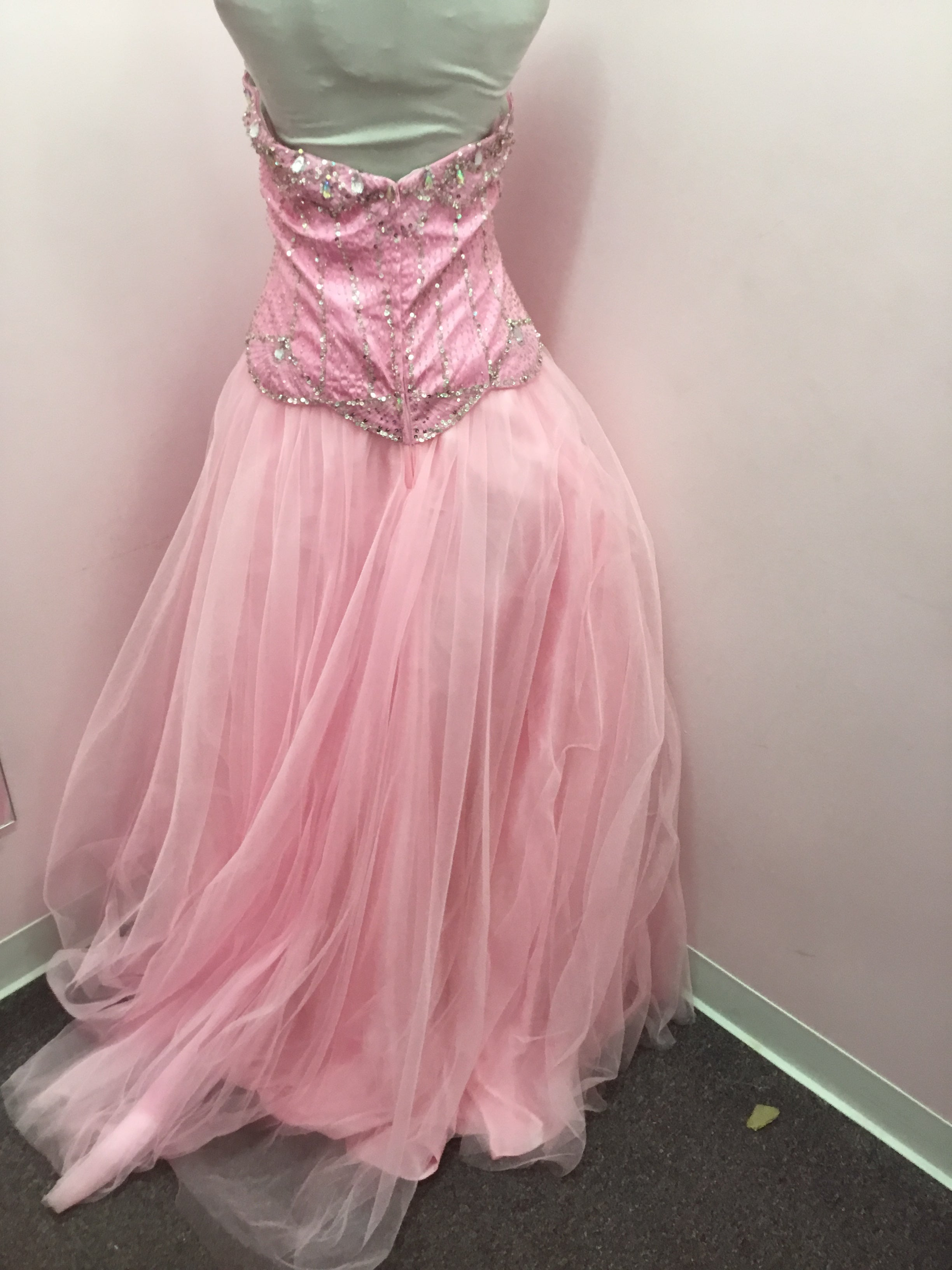 Pink Bejeweled Prom Dress