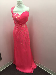 One Shoulder Pink Prom Dress