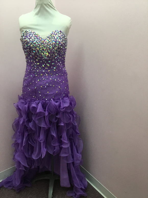 Strapless Bejeweled Violet Prom Dress