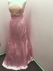 Strapless Pale Pink Prom Dress