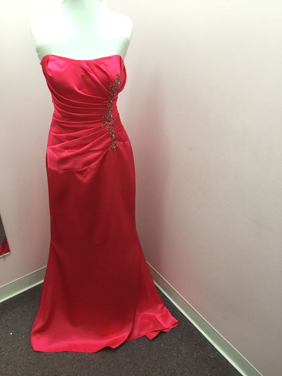 Raspberry Strapless Dress