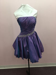 Purple Beaded Strapless Dress
