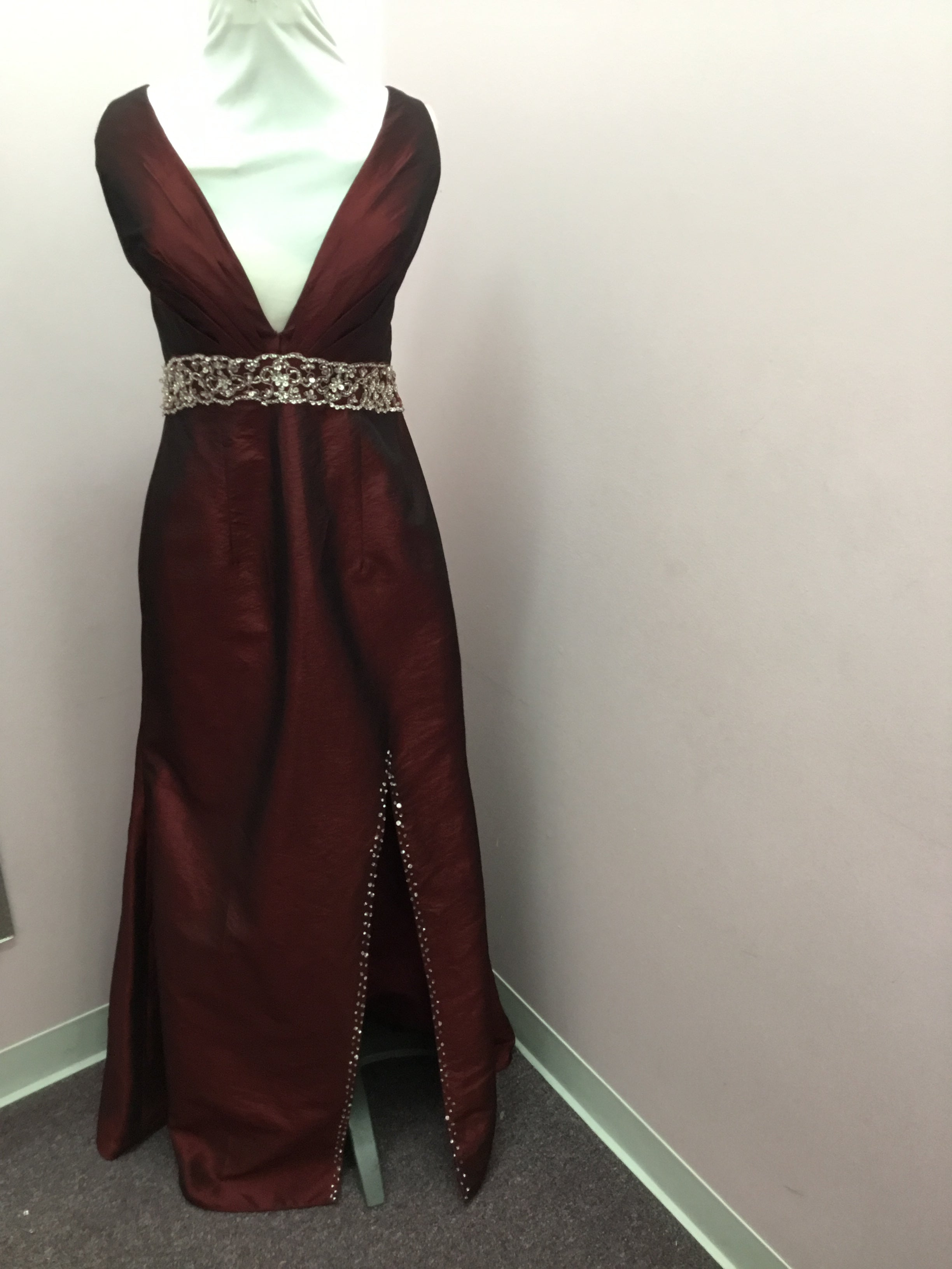 Deep Red Beaded Formal Gown