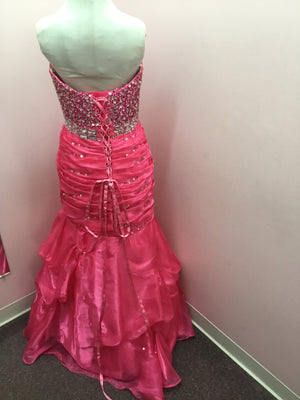 Hot Pink Beaded Prom Dress