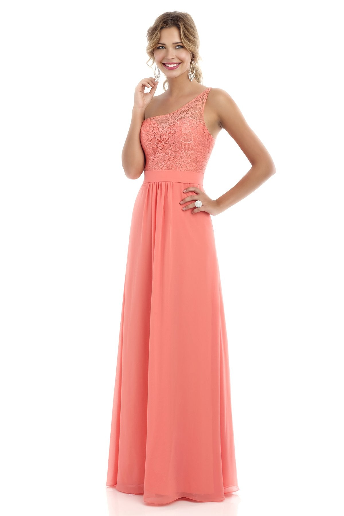 Coral Lace One Shoulder Gown