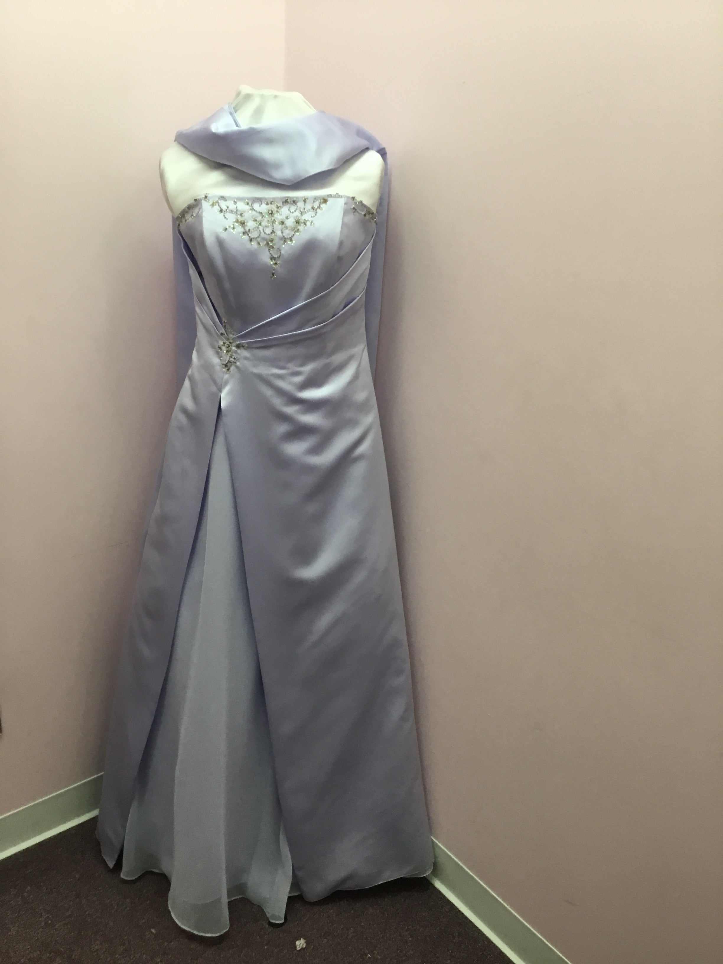 Strapless Beaded Lilac Gown