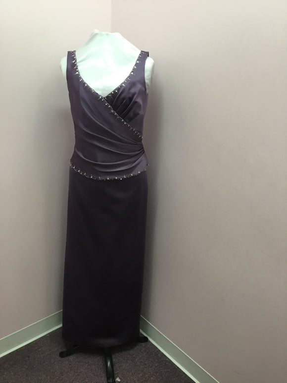 V-Neck Beaded Purple Gown
