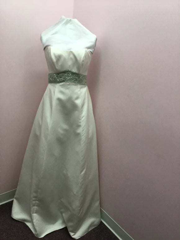 Ivory and Sage Strapless Gown