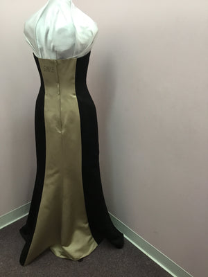 Strapless Black and Bronze Gown
