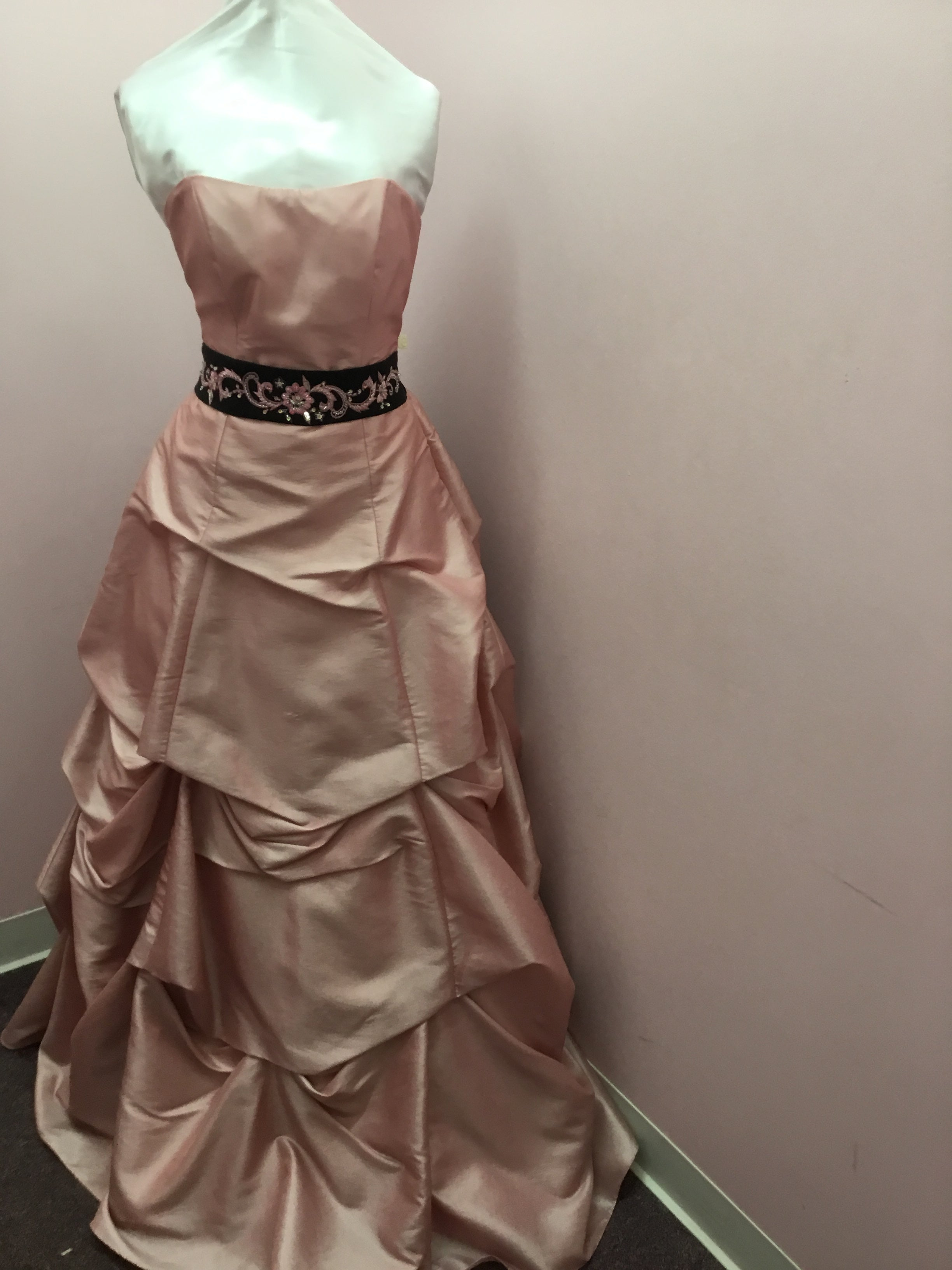 Strapless Pink and Black Gown