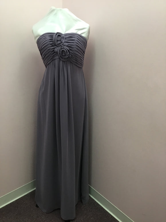 Strapless Slate Floral Gown