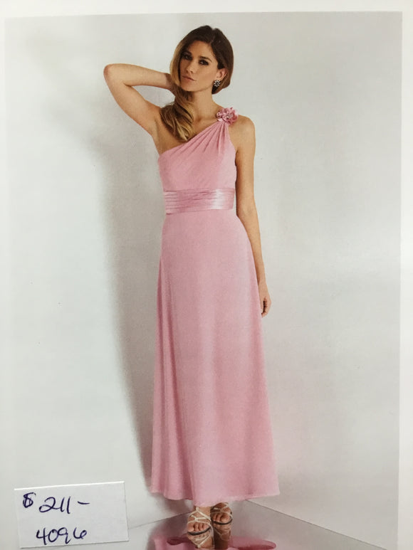 One Shoulder Dusty Rose Gown