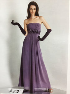 Strapless Purple Gown with Gloves