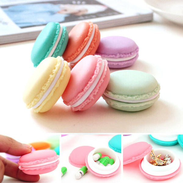 """Candy Color Mini Cute Macarons Jewelry Ring Necklace Carrying Case Organizer Storage Box """