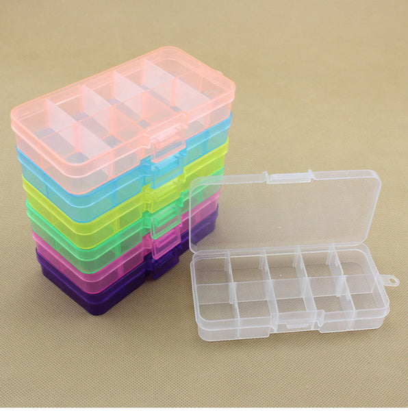 10 Slots Compartment Plastic Adjustable Boxes Craft Case