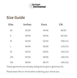Sweater size guide