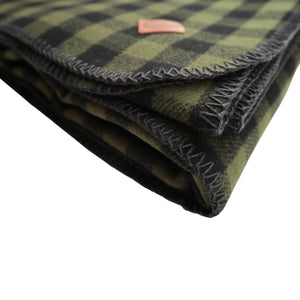Stormy Kromer Wool Blanket - Loden Green and Black Plaid