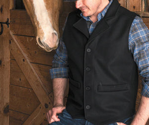 SK Black Western Vest in 100% virgin wool