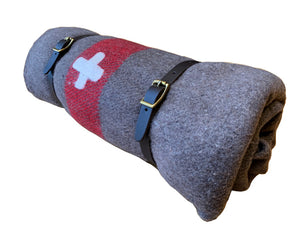 Swiss Army Blanket with leather bedroll straps