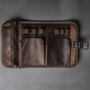 Kruk Garage Leather Tool Roll Brown, Tool Protector, Tool Carry, Tool Bag