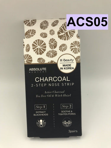 ABSOLUTE NEW YORK K-BEAUTY CHARCOAL 2-STEP NOSE STRIP 3 PAIRS ACS05